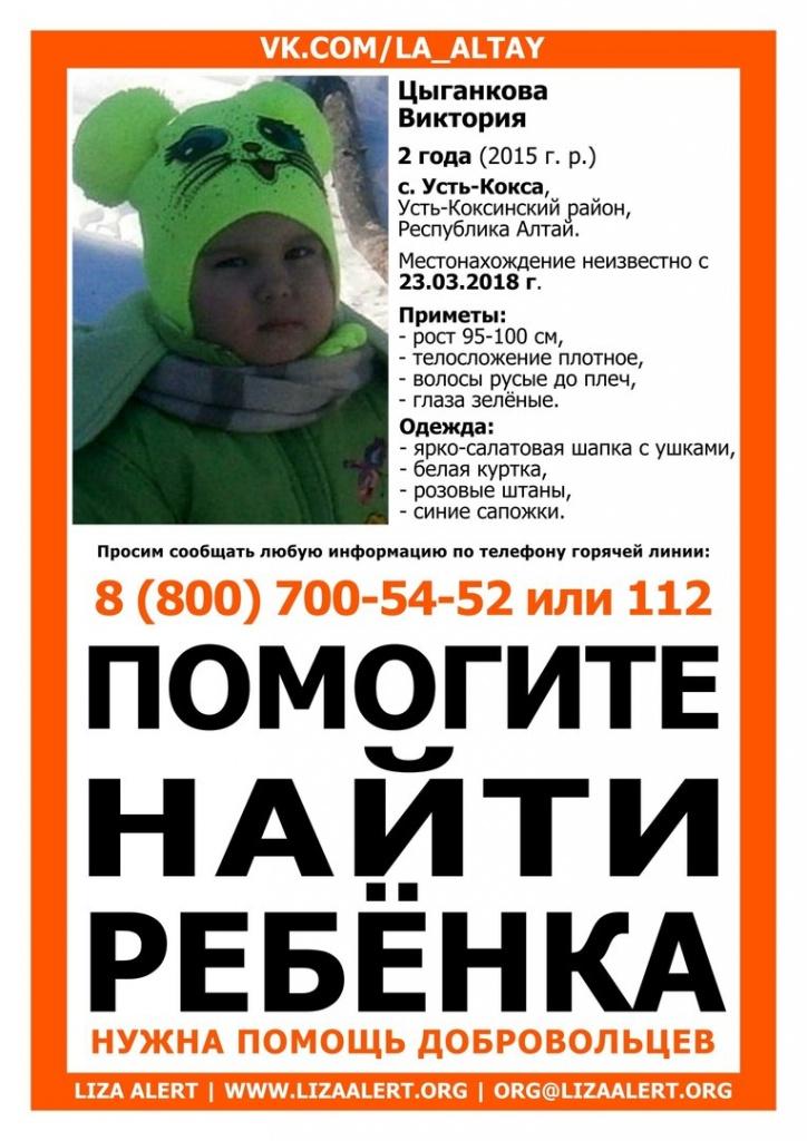 Поиски двухлетней девочки, пропавшей на Алтае в марте, продолжаются